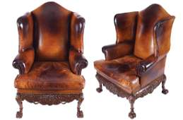 PAIR OF DUBLIN EDWARDIAN PERIOD CARVED MAHOGANY AND