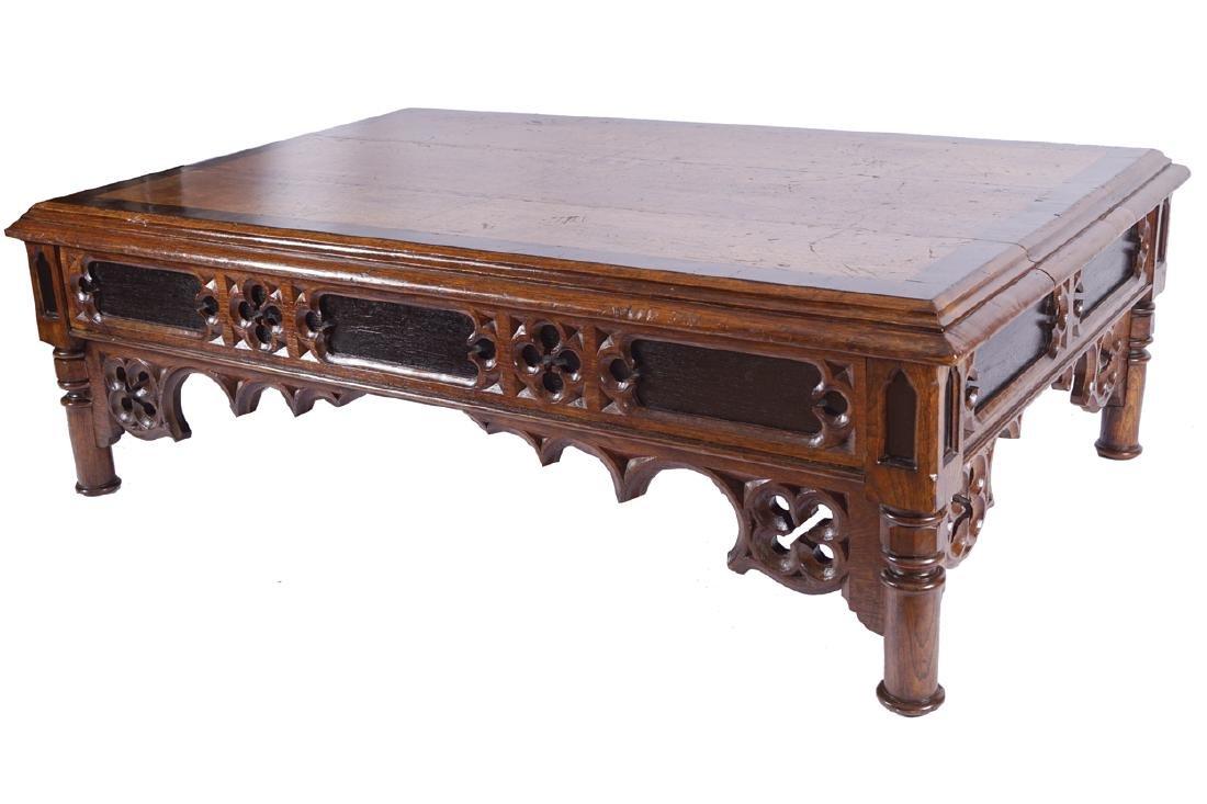 LARGE NINETEENTH-CENTURY GOTHIC WALNUT LOW TABLE