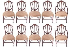 SET OF 10 GEORGE III PERIOD MAHOGANY DINING CHAIRS,