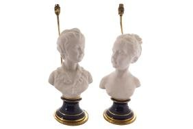 PAIR OF NINETEENTH-CENTURY PARIAN BUSTS each beneath a
