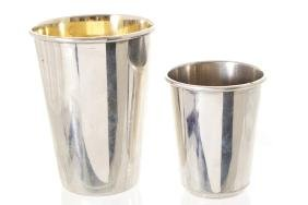 TWO STERLING SILVER HUNTING BEAKERS