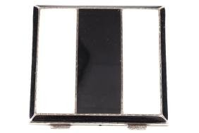 ART DECO SILVER WHITE AND BLACK ENAMELLED COMPACT