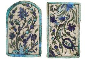 TWO EARLY?MIDDLE EASTERN PAINTED TILES