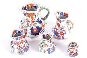 SET OF FIVE MASON'S IRONSTONE GRADUATED JUGS