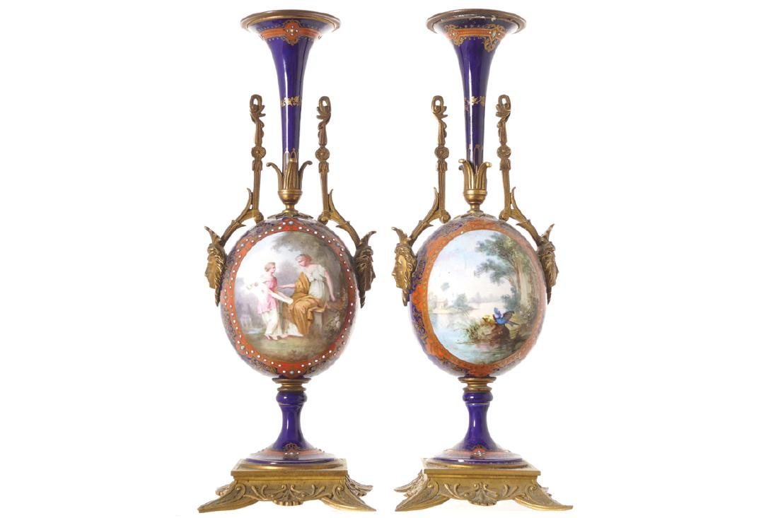 PAIR OF NINETEENTH-CENTURY SEVRES PORCELAIN AND ORMOLU