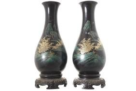 PAIR OF JAPANESE LACQUERED VASES