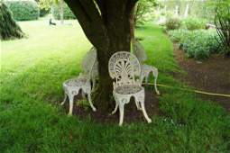 SET OF FOUR METAL GARDEN CHAIRS