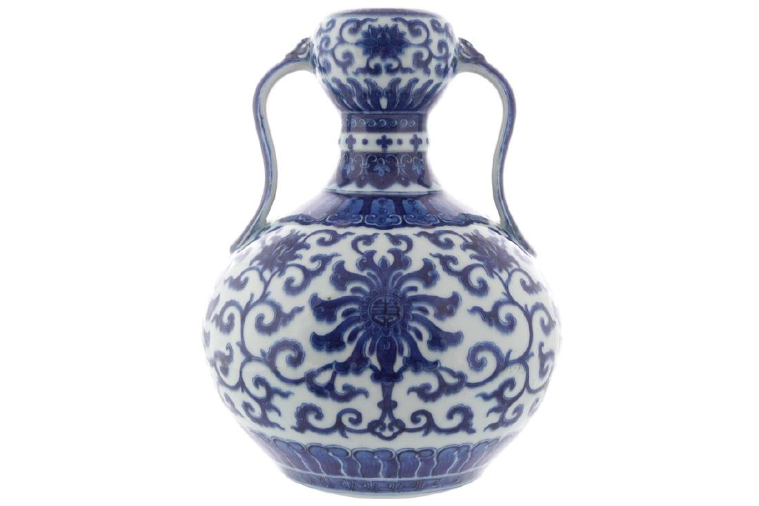 CHINESE QING PERIOD BLUE AND WHITE DOUBLE GOURD VASE