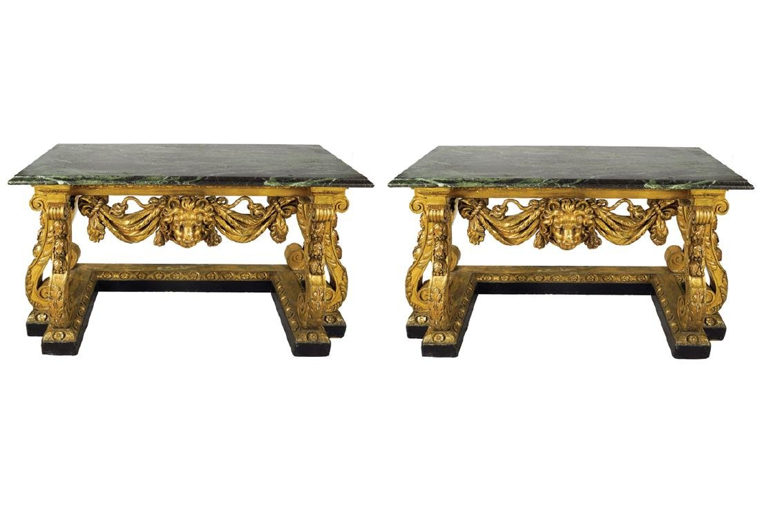 PAIR OF NINETEENTH-CENTURY CARVED  GILTWOOD CONSOLE