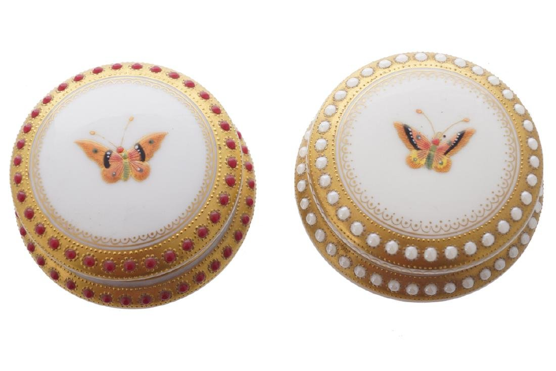 TWO LIMOGES PARCEL GILT AND PAINTED  TRINKET BOXES