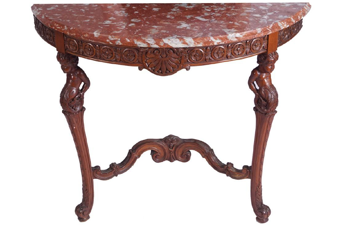 EDWARDIAN PERIOD MAHOGANY CONSOLE TABLE AND MIRROR