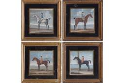 SET OF FOUR EIGHTEENTHCENTURY HAND COLOURED ENGRAVINGS