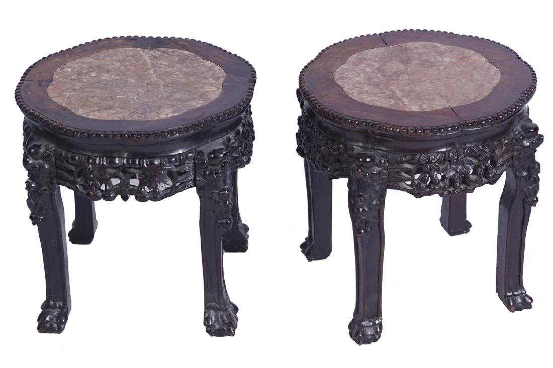 PAIR OF NINETEENTH CENTURY CHINESE  HARDWOOD STANDS
