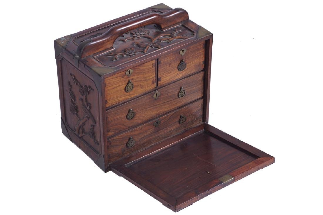 CHINESE QING PERIOD HARDWOOD JEWELLERY CHEST