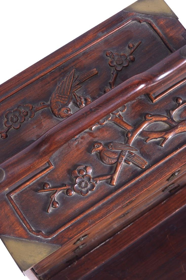 CHINESE QING PERIOD HARDWOOD JEWELLERY CHEST - 2