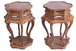 PAIR OF CHINESE QING PERIOD BURR GRAINED CEREMONIAL