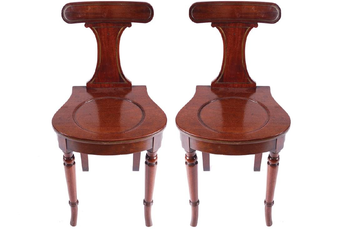 PAIR OF REGENCY PERIOD MAHOGANY AND BRASS INLAID HALL