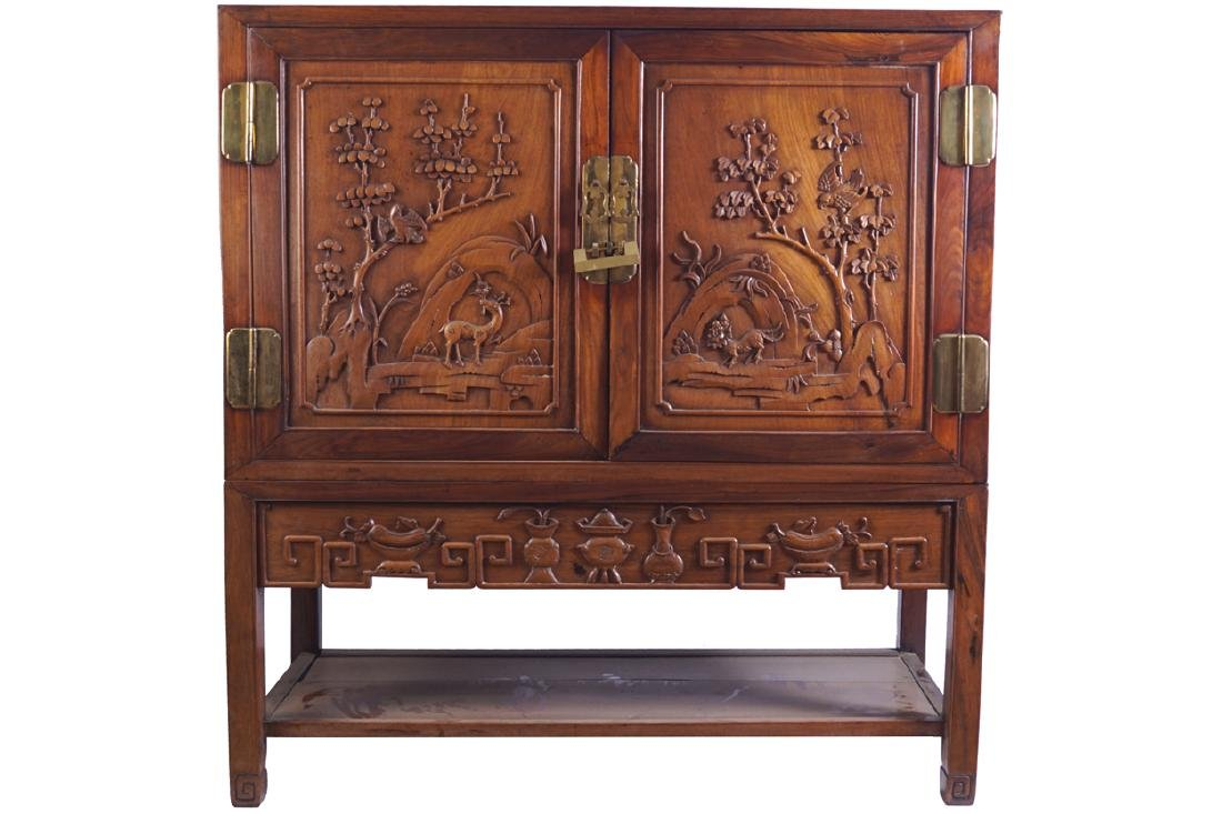 CHINESE QING PERIOD HARDWOOD SIDE CABINET