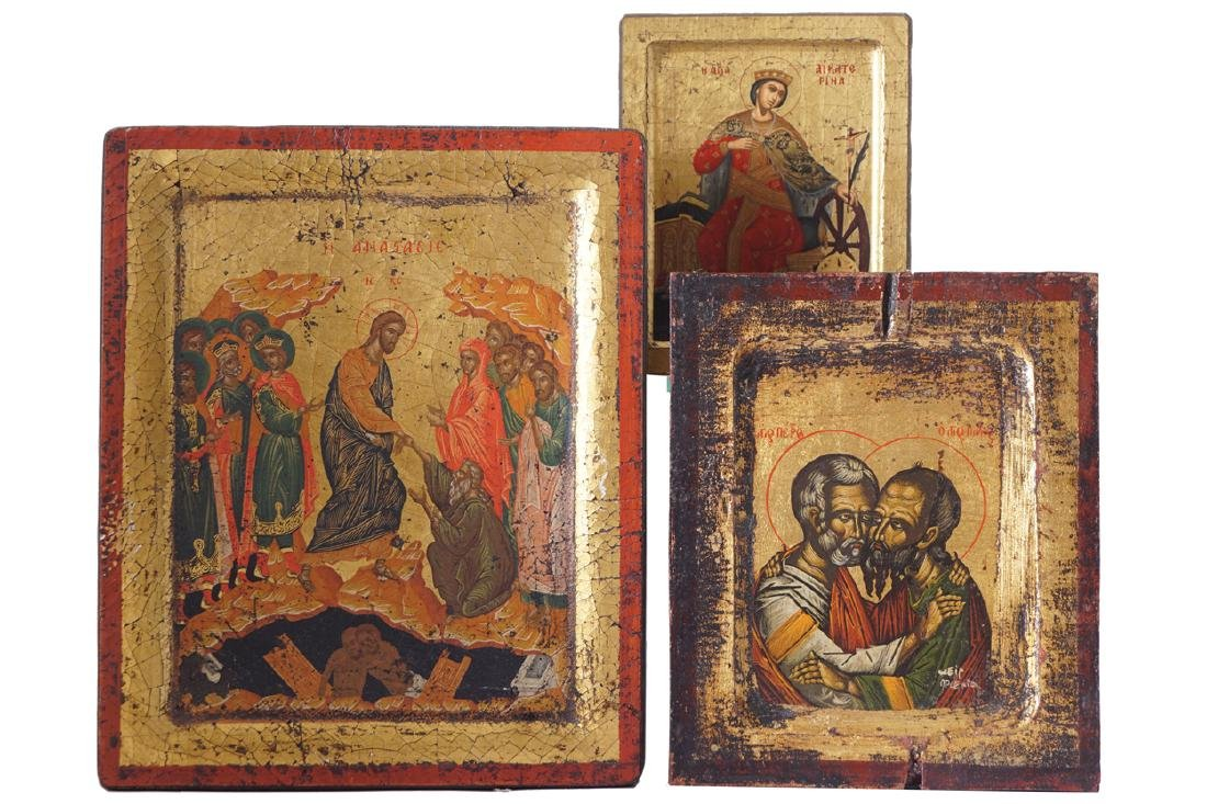 GROUP OF THREE EARLY ICONS
