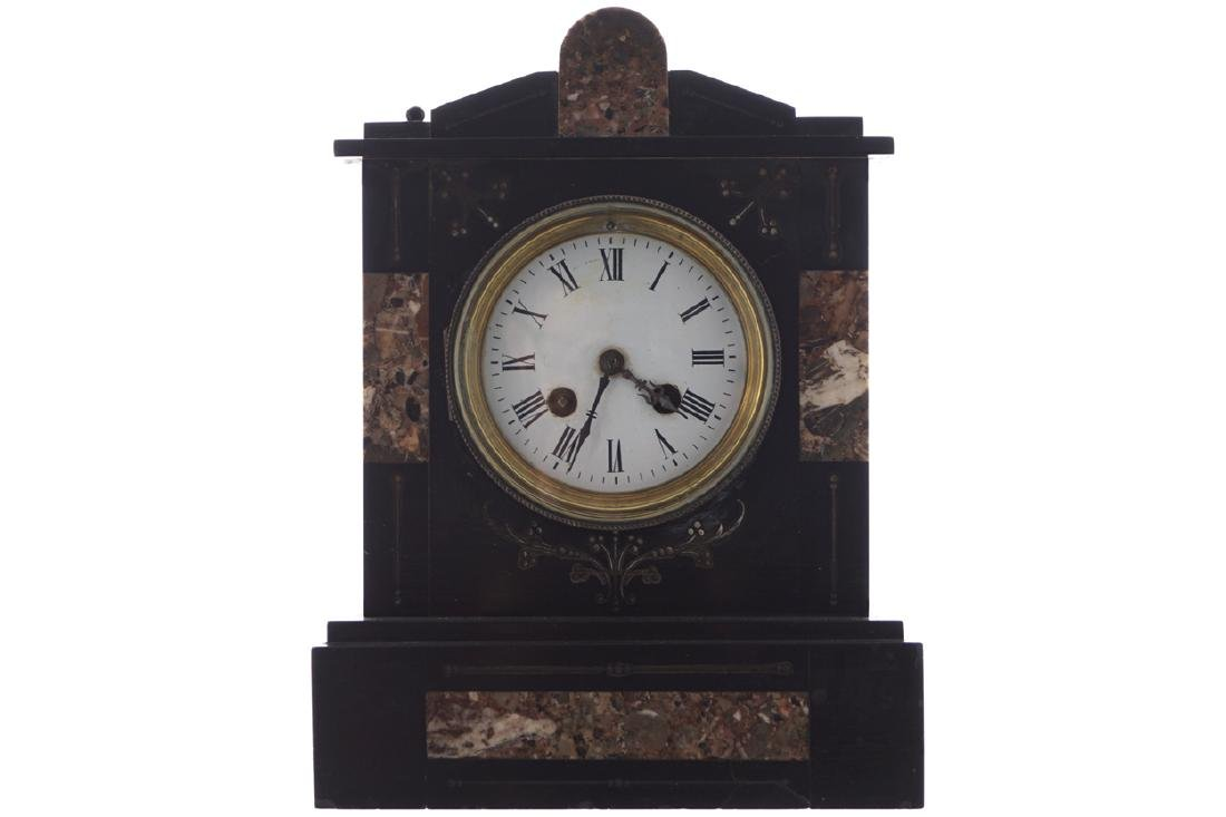 NAPOLEON III BLACK MARBLE MANTLE CLOCK