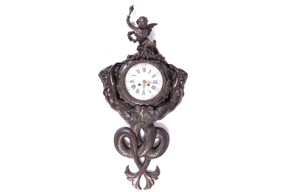NINETEENTH-CENTURY BRONZE CARTEL CLOCK