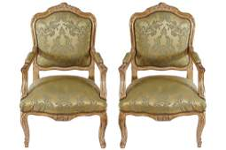 PAIR OF LOUIS XV STYLE CARVED GILT WOOD FRAMED