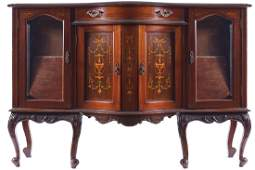 EDWARDIAN PERIOD MAHOGANY AND MARQUETRY SIDE CABINET