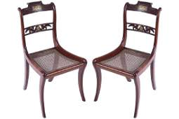 PAIR OF REGENCY MAHOGANY AND BRASS INLAID OCCASIONAL