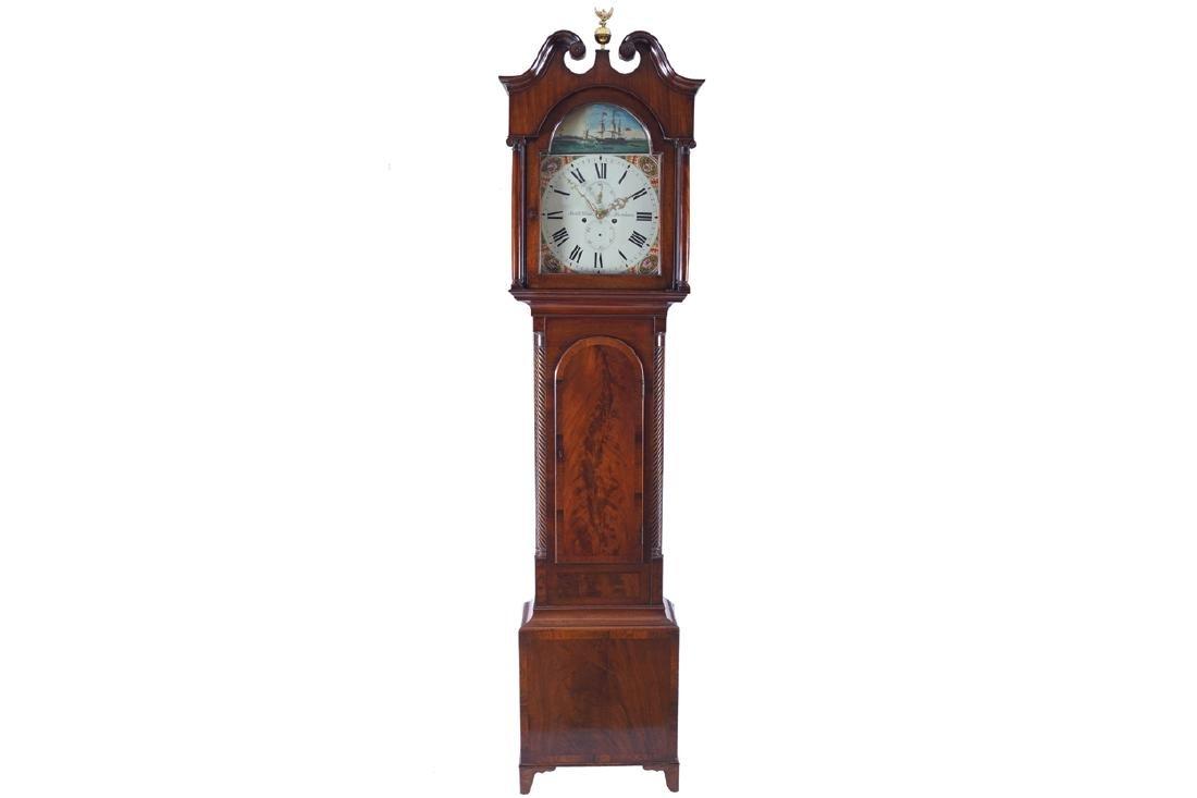 EARLY NINETEENTH-CENTURY MAHOGANY LONGCASE CLOCK