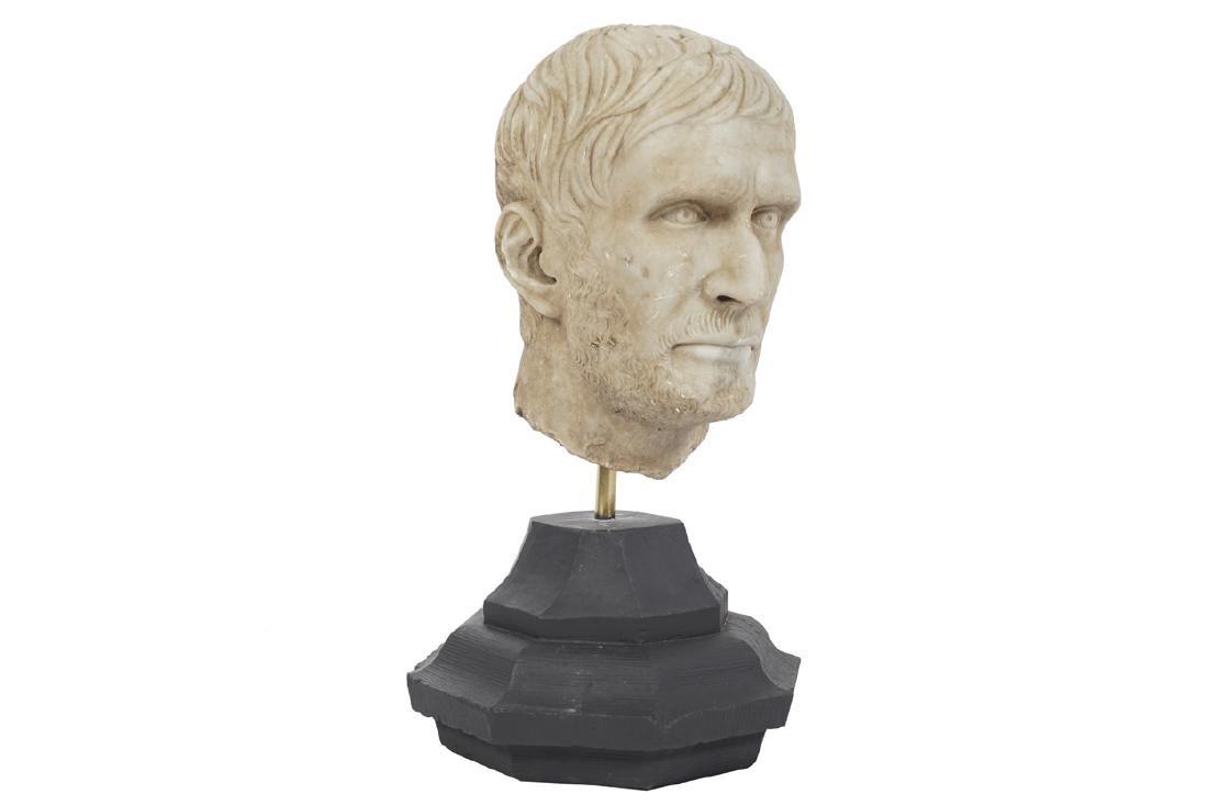 ROMAN MARBLE PORTRAIT HEAD OF A MAN, CIRCA AD 300