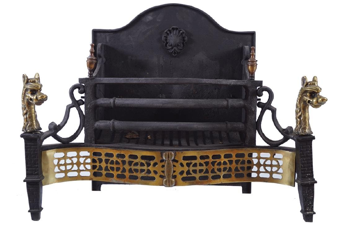 METAL AND BRASS FIRE BASKET