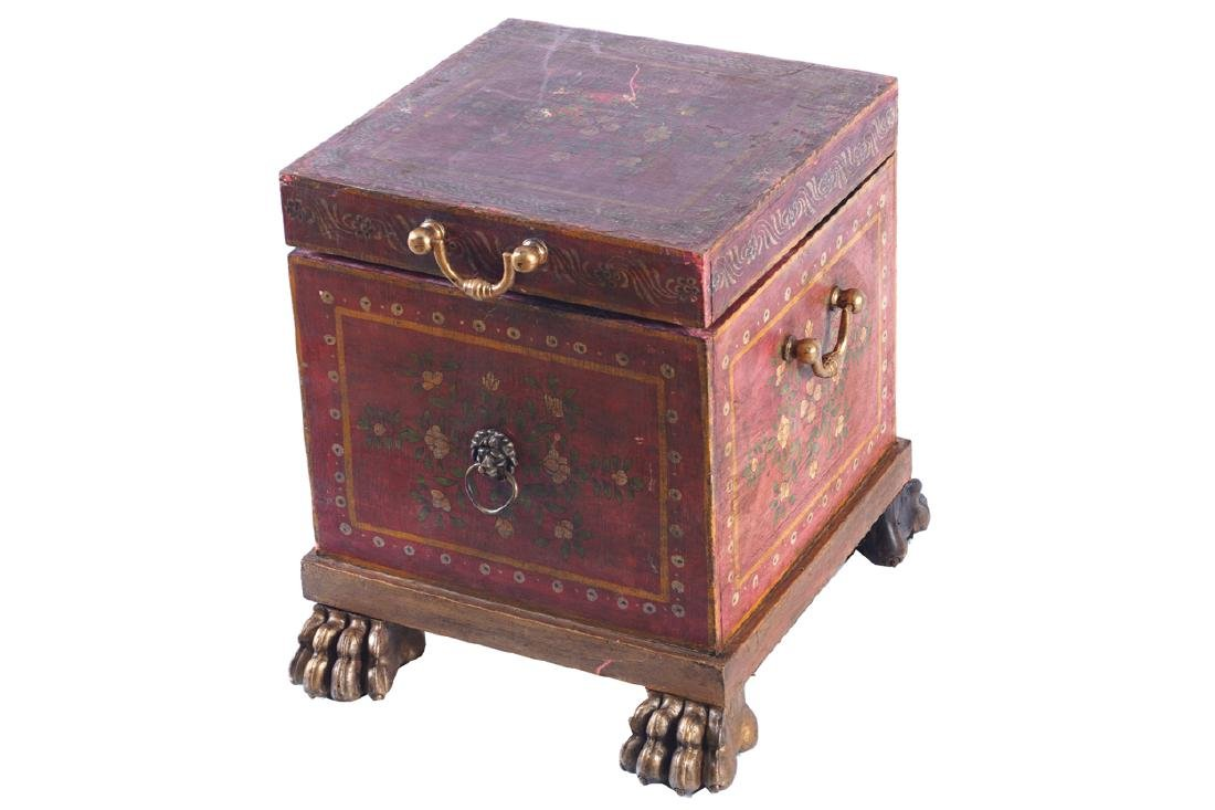 NINETEENTH-CENTURY PAINTED AND PARCEL GILT LOG BOX