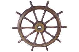 LARGE BRASS MOUNTED SHIP'S WHEEL