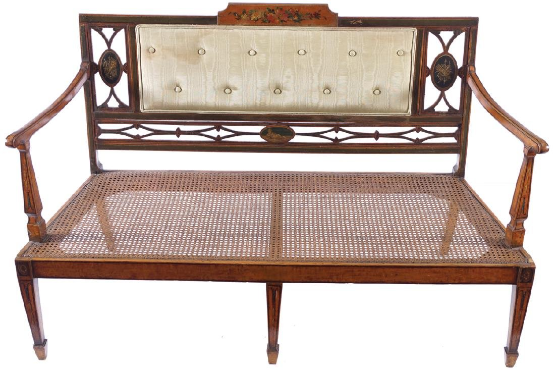 EDWARDIAN PERIOD SATINWOOD AND PAINTED SETTEE
