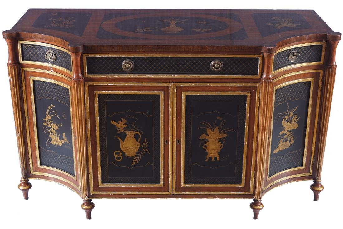 PAIR OF EDWARDIAN GRAINED ROSEWOOD, PARCEL GILT AND