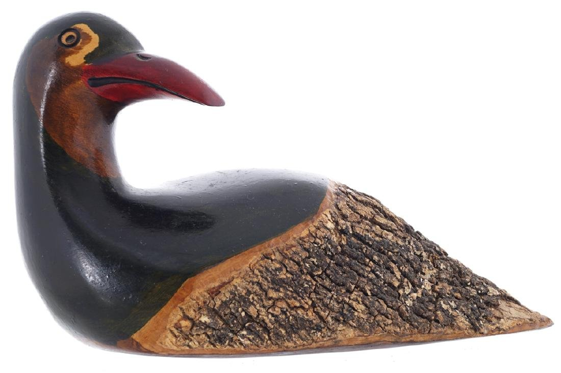 CARVED WOOD DECOY DUCK