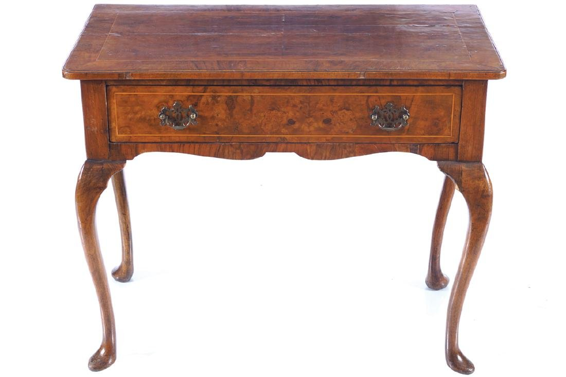 GEORGE I WALNUT AND CROSS BANDED LOWBOY