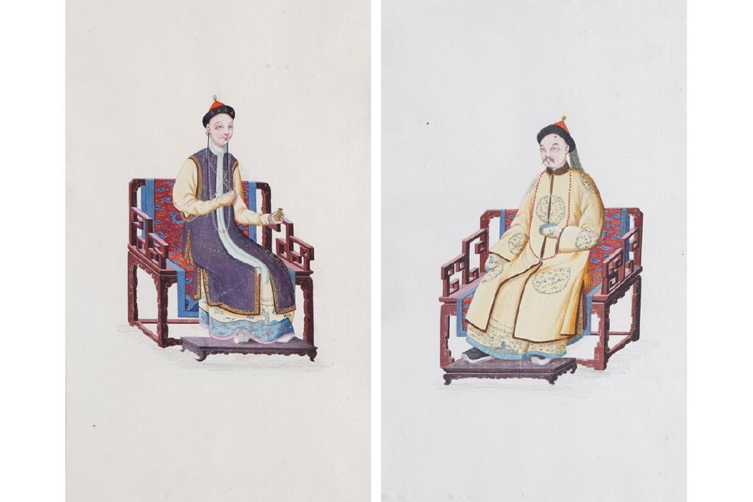 PAIR OF CHINESE QING PERIOD WORKS ON SILK