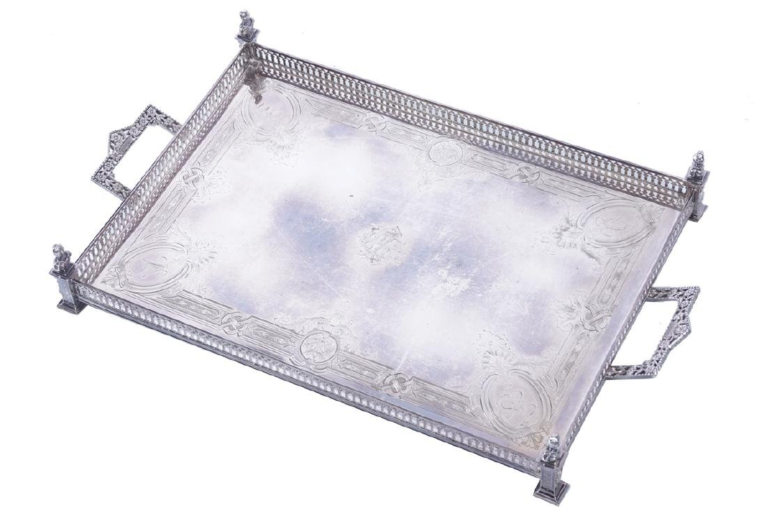 NINETEENTH-CENTURY SILVER PLATED GALLERY TRAY