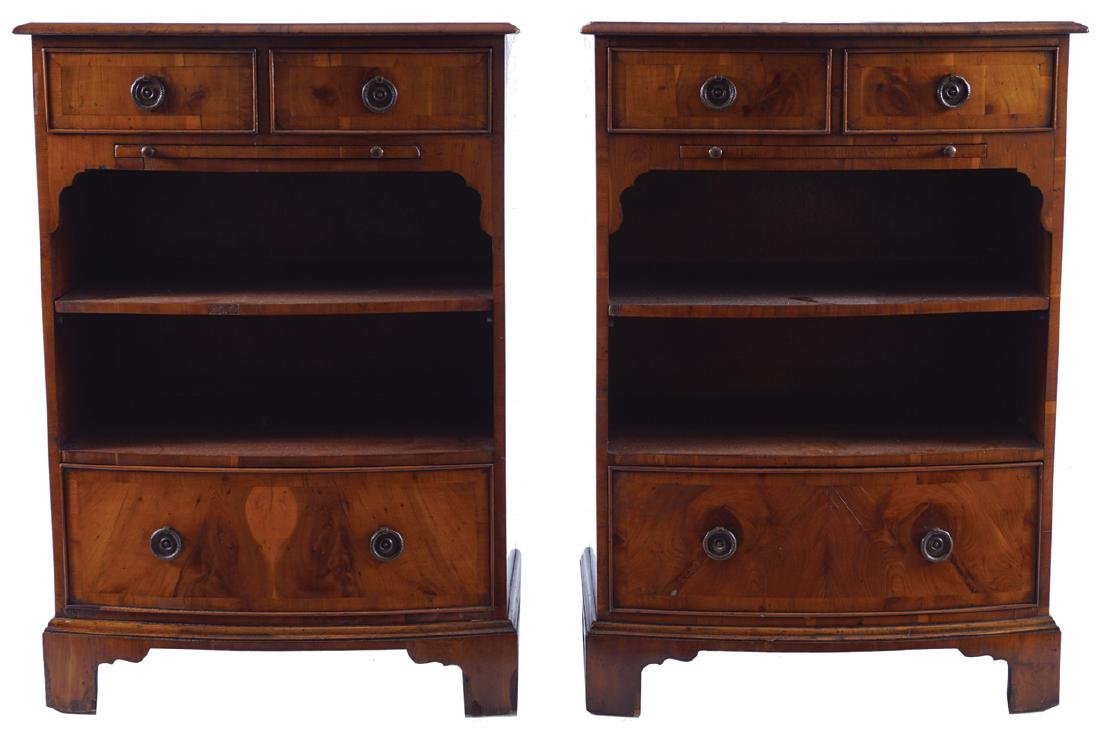 PAIR OF EDWARDIAN YEW WOOD BOW FRONT BEDSIDE CHESTS