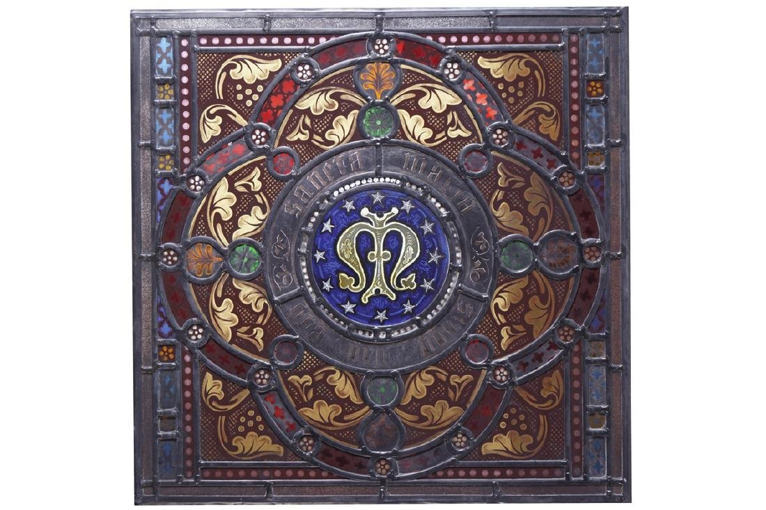 NINETEENTH-CENTURY STAINED GLASS PANEL