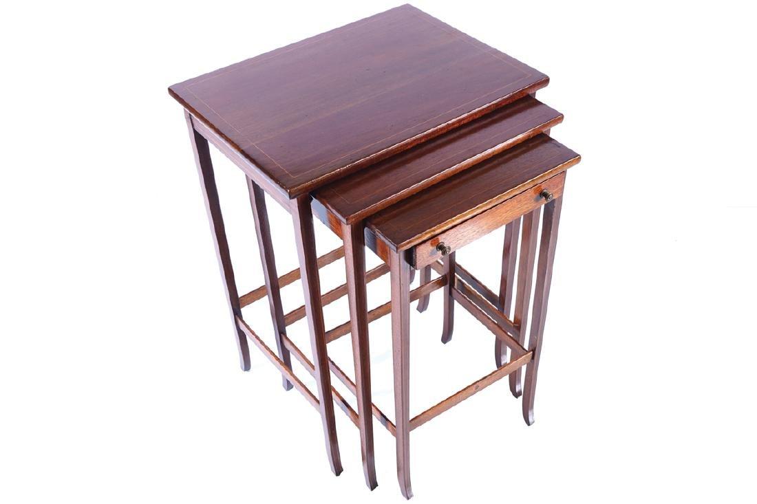 EDWARDIAN MAHOGANY AND INLAID NEST OF THREE TABLES
