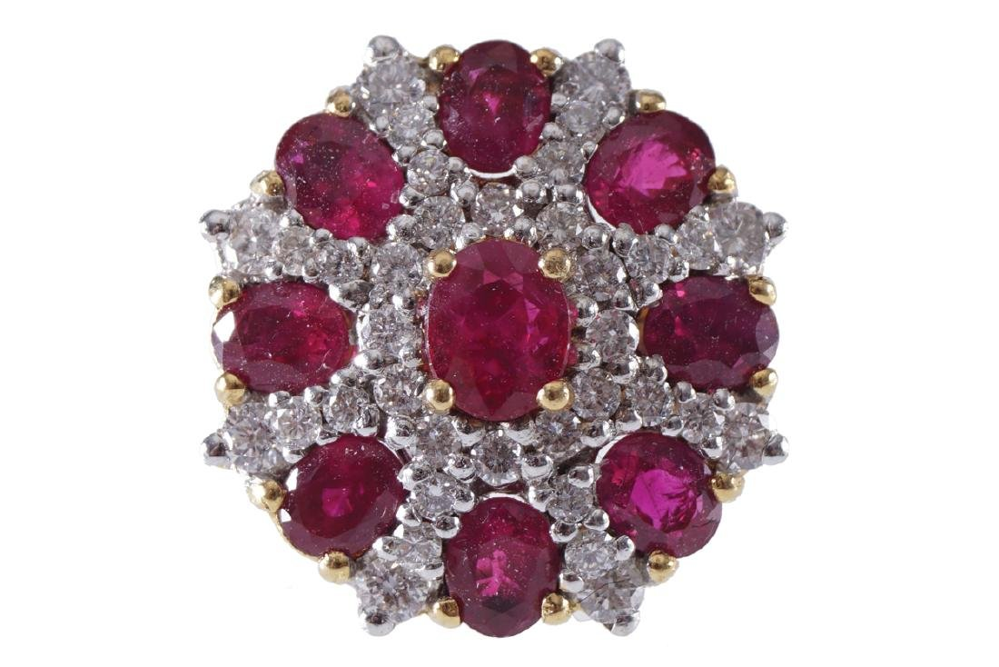 18 CT. YELLOW GOLD RUBY AND DIAMOND CLUSTER EARRINGS