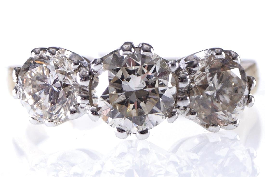 18 CT. YELLOW GOLD THREE STONE DIAMOND (3.53 CARAT)