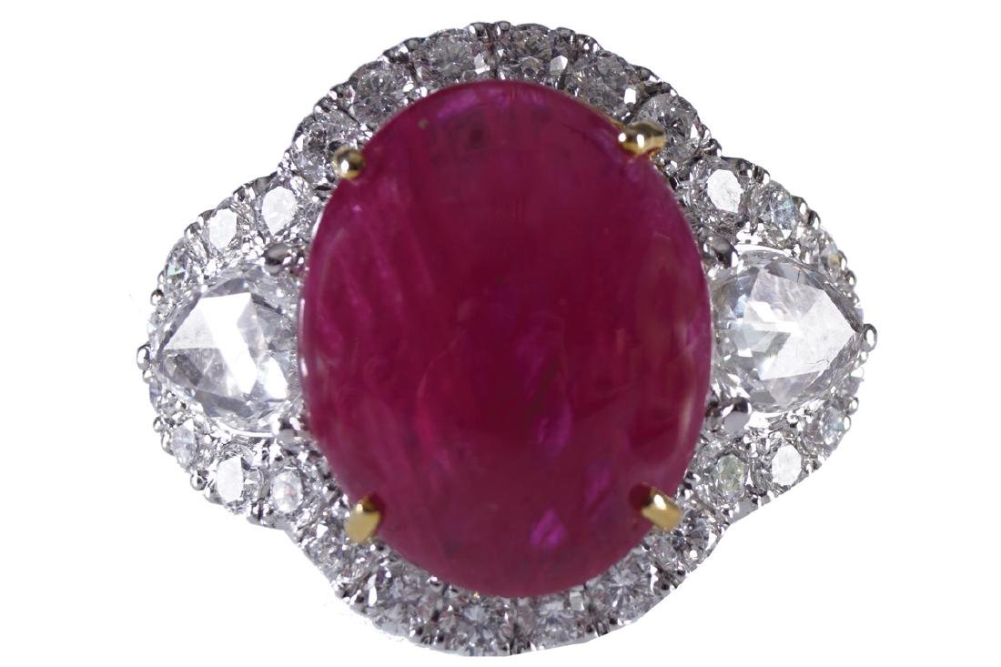 18 CT. WHITE GOLD BURMESE CABOCHON RUBY (7.5 CARAT) AND