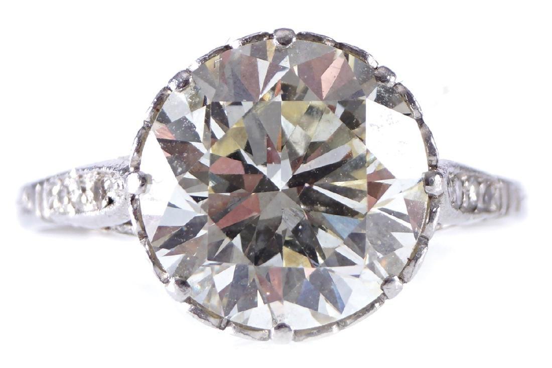 PLATINUM AND DIAMOND (3.87 CARAT) SOLITAIRE RING
