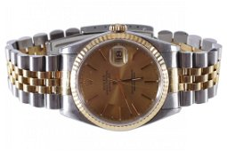 GENTS STEEL AND GOLD ROLEX WATCH WITH CHAMPAGNE DIAL
