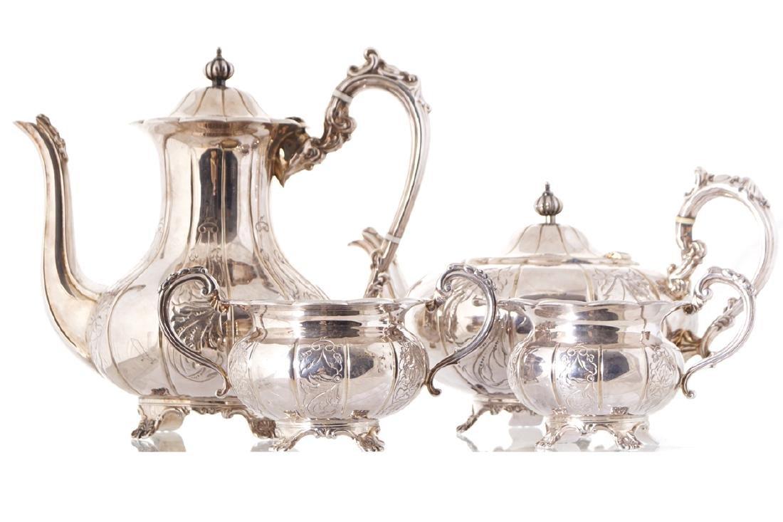 FOUR PIECE SILVER TEA AND COFFEE SERVICE