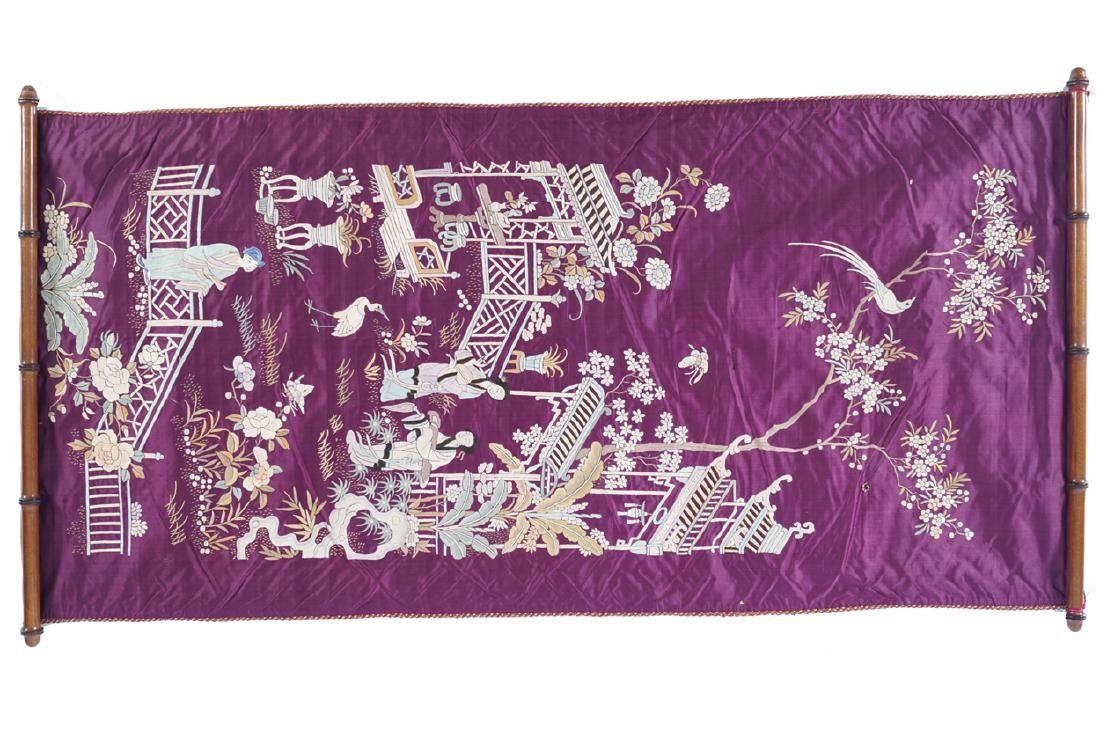 NINETEENTH-CENTURY CHINESE SILK EMBROIDERY WALL HANGING