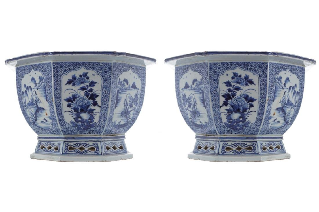 PAIR OF LARGE CHINESE QING PERIOD BLUE AND WHITE
